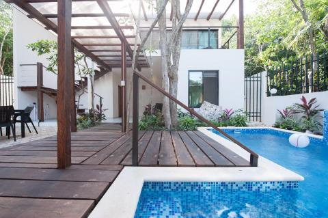 Outdoor deck and pool area